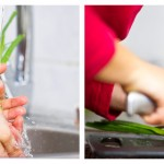 Spălăm usturoiul verde, după care îl tocăm mărunt