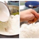 ...se adaugă puţină sare apoi se toarnă peste făină şi se adaugă ouăle.