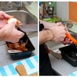 Se curăţă ceapa, morcovii şi apoi se spală.