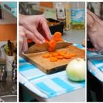 Se taie morcovii rondele iar ceapa felii.