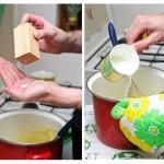 Se fărâmă bine cartofii, se adaugă unt, sare, lapte fierbinte şi se amestecă bine.