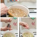Adăugaţi smântâna în supă, sare de mare, piper negru măcinat, pătrunjel.