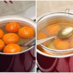 ...dăm focul la minim, punem ceva greu peste mandarine, ca să rămână imersate şi lăsăm la fiert 30 minute.
