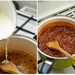Zahărul se lasă la topit şi când se caramelizează se toarnă smântâna fierbinte puţin câte puţin.