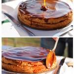 Se toarnă caramel din belşug şi se întinde pe partea de sus şi pe lateralele tortului.