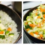 Adăugăm şi morcovul, dovleceii şi ţelina tocate şi amestecăm