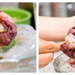 Aranjăm cubuleţele de carne marinată pe frigărui