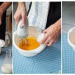 Gălbenuşurile se bat cu ajutorul unui mixer, se adaugă zahărul pudră şi se bat în continuare până formează o cremă albicioasă.