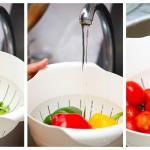 Spălăm bine legumele, rucola, ardeii, roşioarele cherry