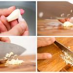 Curăţăm un căţel de usturoi şi-l tocăm mărunt mărunt