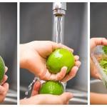 Spălăm fructele de de avocado, lămâile verzi, coriandrul