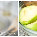 Decojim fructele de avocado şi apoi le zdrobim cu o furculiţă