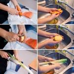 Se curăţă legumele, se spală bine.