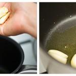 Adăugăm căţeii de usturoi zdrobiţi în uleiul încins