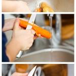 Spălăm ceapa, curăţăm morcovii şi cartofii