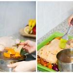Punem pe lângă raţă cuburile de portocale din sos şi pe dânsa o ungem cu sos din abundenţă