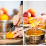 Tăiem portocala în cuburi şi o adăugăm în sos