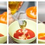 Punem într-un castron toate ingredientele pentru sos: sosul de roşii, usturoiului, mierea, sosul de soia, sosul de lime
