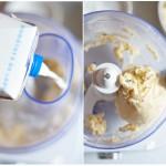 Se adaugă puţin lapte şi se amestecă până când aluatul se adună într-o bilă.