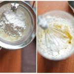 Brânza mascarpone se bate bine cu mixerul până devine cremoasă, apoi se adaugă zahărul pudră şi se amestecă bine.