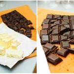 Se taie untul cuburi, se rupe ciocolata în bucăţi.