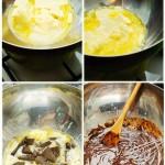 Se pune untul la topit, se adaugă laptele condensat şi apoi ciocolata. Se amestecă uşor până se topesc şi contopesc toate.