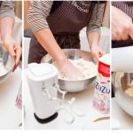 La nevoie se mai amestecă puţin cu mâna. Se adaugă laptele rece şi se amestecă până când aluatul este uniform.