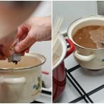 În supa de porc se adaugă pasta miso şi se lasă pe foc mic să se combine.