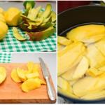 Se curăţă mango de coajă şi se taie felii. Se păstrează sâmburii (au conţinut ridicat în pectine).