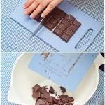 Ciocolata se taie bucăţi.
