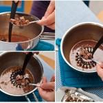 Se lasă puţin la relaxat amestecul şi apoi se încorporează ciocolata cu lapte lingură cu lingură.