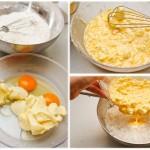 Ouăle se freacă cu untul moale apoi se toarnă peste ingredientele solide şi se amestecă foarte bine împreună.