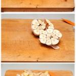 Lemongrasul se taie bucăţi mai mici, usturoiul se taie în jumătăţi, ghimbirul se curăţă şi se zdrobeşte.