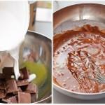 Peste ciocolata mărunţită se toarnă laptele de cocos adus la punctul de fierbere.