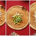Se toacă nucile, usturoiul verde, se rade parmezanul.