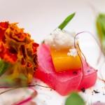Sashimi new style: ton cu mango şi brânză de capră, somon cu trufe, burtă de ton (toro) cu smochină şi reductive de sos de soia, hamaki cu coriandru, usturoi şi ulei de susan, seabass cu sos XO (crevete şi Saint Jacques deshidratat), avocado cu icre de somon.