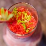 Palate cleanser: Granita de căpşuni, tequila, triplu sec, coajă de lime, fresh de portocale